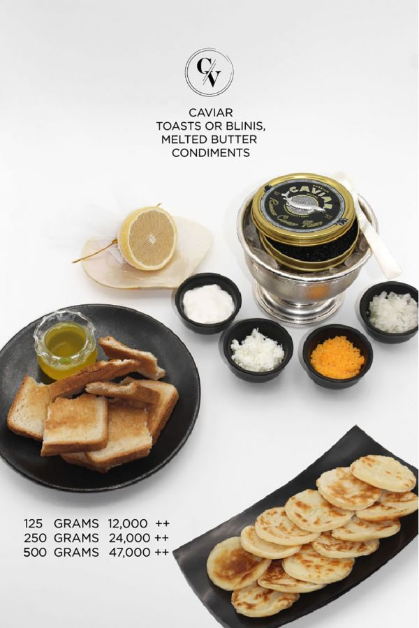 Caviar Cafe : Caviar Toasts Or Blinis, Melted Butter Condiments