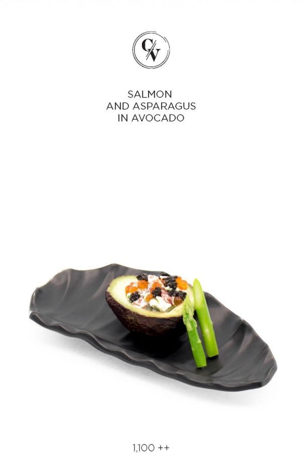 Caviar Cafe : SALMON AND ASPARAGUS IN AVOCADO