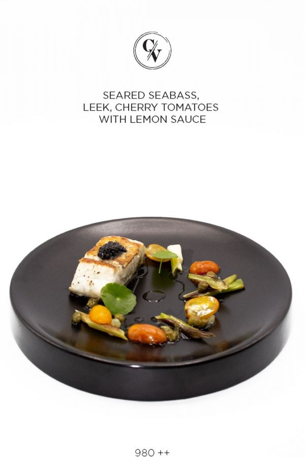 Caviar Cafe : SEARED SEABASS LEEK, CHERRY TOMATOES WITH LEMON SAUCE